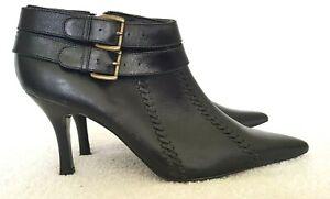 FIORELLI Ladies Designer Black Leather Buckle Accent Ankle Boots size 9.5 EUC