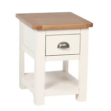 Cream Painted Lamp Table / Oak Side Table With 1 Drawer / Solid Wood Millbrook