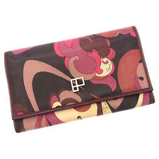 Emilio Pucci Wallet Purse Long Wallet Brown Pink Woman Authentic Used H222