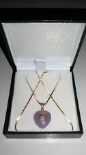 "BEAUTIFUL 9CT 375 YELLOW GOLD & LILAC JADE HEART PENDANT ON 16"" CHAIN NECKLACE**"