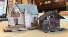 Vintage 2 Small Putz Houses Santa Mica Glitter Christmas Japan