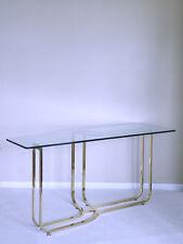 vtg DIA sculptural HOLLYWOOD REGENCY mastercraft brass glass avant console table