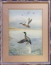 BORIS RIAB (RUSSIAN/AMERICAN 1898-1975) DUCKS WATERCOLOR WILDLIFE HUNT SCENE