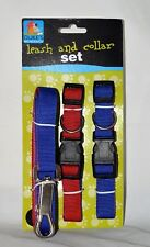 """Red & Blue  Dual-Colored Nylon Leash & 2 Snap Close Collars 12""""-21"""" neck"""