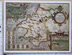 Old Tudor map of Pembrokeshire, Wales: John Speed 1600's Reprint Inc St David's
