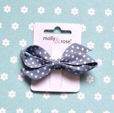 "NEW 3"" FRENCH BOW HAIR CLIP POLKA DOT SPOT or NAUTICAL STRIPED FABRIC RETRO"