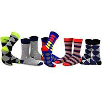 TeeHee Men's Fun and Fashion Cotton Crew Socks 5-Pack (Bright and Colorful Dots)