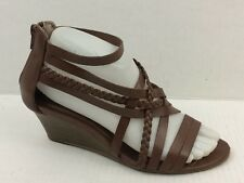 SBicca Womens 7 Med Brown Strappy Wedge Heels Sandals Open Toe Faux Leather Zip