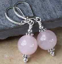 Beautiful 10mm light pink Quartz Round Beads Silver Dangle Leverback Earring
