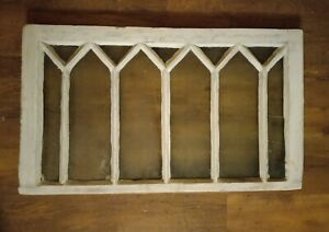 """Vintage Antique Mission Gothic style Half Diamond panes Window 36"""" by 21½"""""""