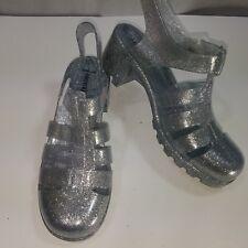 ccdb5eb7719 Forever 21 Sandals Silver Glitter Sling Back Block Heels Water Shoe Summer  Sz 8