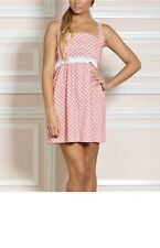 NWT JESSIE STEELE Pink Deco Dot 100% Cotton Chemise Nightie Sz Med