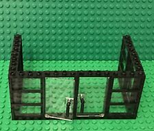 Lego Black 3 Panes Frame 1x4x6 With Trans-clear Glass X6 And With Door X2