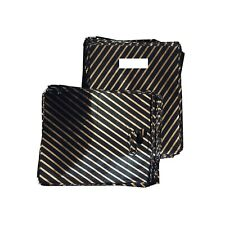 500 Small Black and Gold Striped Jewellery Fashion Gift Plastic Carrier Bags