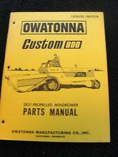 ORIG OWATONNA OMC CUSTOM 800 WINDROWER TRACTOR PARTS CATALOG MANUAL VERY NICE