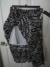NWT- NOTATIONS ladies black & white skirt  - sz L - gypsy tiered -   MSRP $44.00