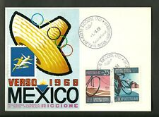 CARTOLINA RICCIONE FIERA INTERNAZIONALE FRANCOBOLLO 1968 VERSO MEXICO ANNULLO