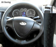 FITS (2007-2011) HYUNDAI i30 100%REAL BLACK ITALIAN LEATHER STEERING WHEEL COVER