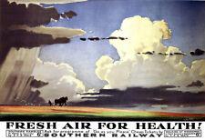 Art Ad  Fresh Air for Health Southern Railways   Train Rail Travel  Poster Print