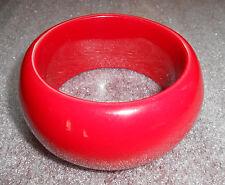 vintage wide deep red plastic bangle bracelet