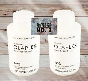 2x OLAPLEX No 3 HAIR PERFECTOR 100ml - DUO PACK-TAKE HOME TREATMENT..