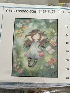 Gorjuss Girl Cross Stich Kit ( Garden Girl ) Pattern Printed On The Fabric