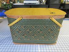 Vintage Hawkeye Green Woven Picnic Basket Burlington Basket Co