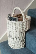 WOODLUV Oval Wicker Stair Basket/step Basket With Handle White