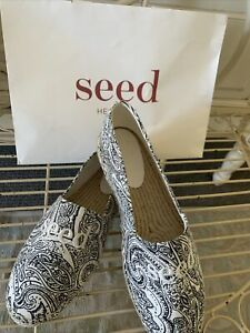 Seed Black Paisley Size 41 Espadrille Shoes BNWT RRP $59.95
