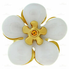 CHRISTIAN DIOR White Jade Sapphire 18k Yellow Gold Flower Ring Size 50