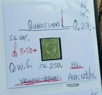 QUEENSLAND QUEEN VIC 6d YELLOW GREEN F.U. STATE STAMP