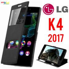 Custodia per LG K4 2017 Flip Cover Libro Portafoglio Finestra Doppia Frontale