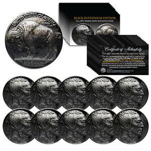 Lot of 10 Various Full Date BUFFALO NICKELS Coins - BLACK RUTHENIUM Indian Head