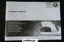 Montageinformation Hardtop für BMW Z4 Roadster E85 mehrsprachig   01290152688