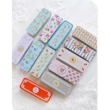 Flower Iron Tin Storage Bag Gift Mini Jewelry Box Decor Card Pill Case