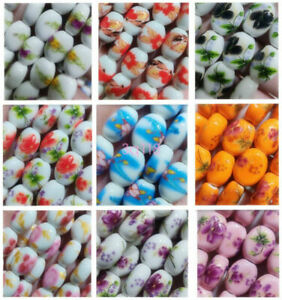 22Pcs Flower Patterns Ceramic Porcelain Charms Loose Spacer Beads 12x14mm