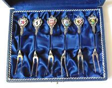 Set Vintage De Seis Tenedores de Aperitivo con brazos de ciudades alemanas Esmaltado