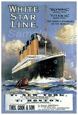 VINTAGE WHITE STAR LINE TITANIC & OLYMPIC A3 POSTER PRINT