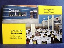 Postcard TN Nashville Zanini's Restaurant Interior & Exterior Views