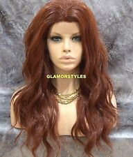 Long Beach Wavy Red Auburn Full Lace Front Wig Heat Ok Hair Piece #130 NWT