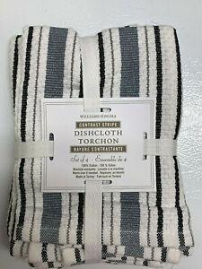 "Williams Sonoma Blue Grey Classic Striped Dish Cloths S/4 (15"" sq)."