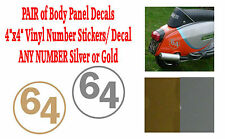 "2x Body Panel Decals 4""x4"" Vinyl Number Sticker Decal  ANY NUMBER Silver or Gold"