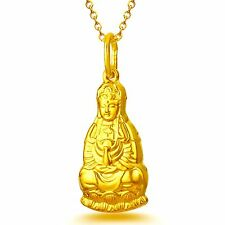 Pure 999 24k Yellow Gold Pendant / 3D Craved Bless GUANYIN 观音Pendant /2.3-2.6g