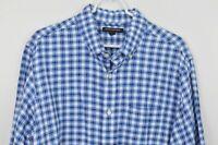 Banana Republic XL Shirt Long Sleeve Button Down Plaid Blue White Linen Cotton