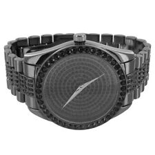 14K Black Gold Finish Watch Link Bracelet Iced Out Bezel&Face St. Steel Back