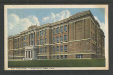 1916 WEST HIGH SCHOOL AT FIVE POINTS AKRON OHIO POSTCARD