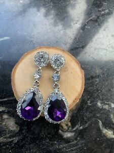 NEW Purple Clear Teardrop Diamanté Silver Halloween Fashion Earrings