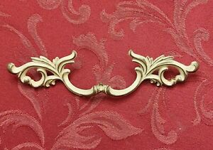 """French Provincial Drawer Pull 3 1/2"""" Bore Belwith Brass P10020 White Gold Fancy"""