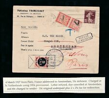 POSTAGE DUE COMBINATION NETHERLANDS + FRANCE 1927 MUSIC EDITOR FRANCIS DAY LYRIC