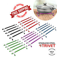 Stainless Steel Trivet Heat Resistant Silicone Hot Pan Pot Worktop Saver Stand